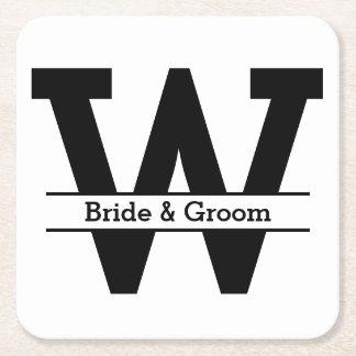 Porta-copo De Papel Quadrado Casamento preto e branco do monograma da separação
