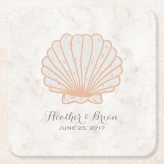 Porta-copo De Papel Quadrado Casamento rústico alaranjado do Seashell