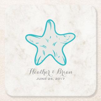 Porta-copo De Papel Quadrado Casamento rústico da estrela do mar de turquesa