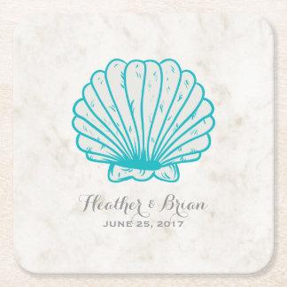 Porta-copo De Papel Quadrado Casamento rústico do Seashell de turquesa