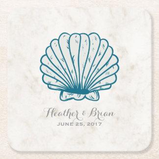 Porta-copo De Papel Quadrado Casamento rústico do Seashell dos azuis marinhos