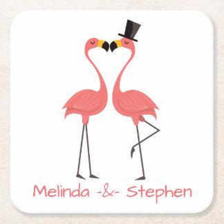 Porta-copo De Papel Quadrado Casamento tropical dos flamingos cor-de-rosa,