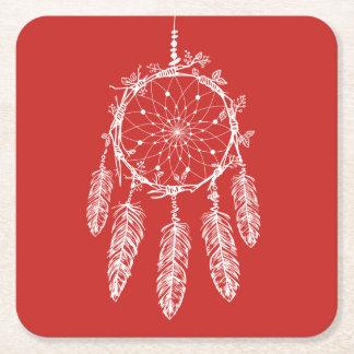 Porta-copo De Papel Quadrado Casamento vermelho do coletor do sonho de nativo