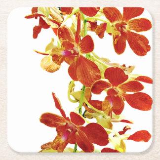 Porta-copo De Papel Quadrado Cascata de orquídeas alaranjadas