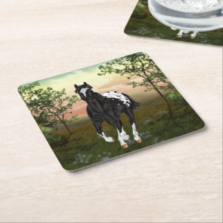 Porta-copo De Papel Quadrado Cavalo geral preto e branco do Appaloosa