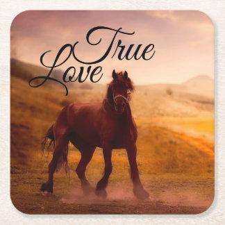 Porta-copo De Papel Quadrado Cavalo verdadeiro do amor