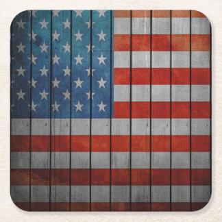 Porta-copo De Papel Quadrado Cerca pintada da bandeira americana