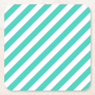 Porta-copo De Papel Quadrado Cerceta e teste padrão diagonal branco das listras