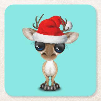Porta-copo De Papel Quadrado Cervos do bebê que vestem um chapéu do papai noel