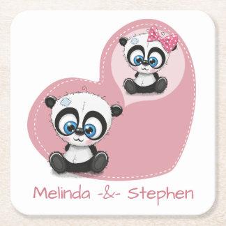 Porta-copo De Papel Quadrado Chá de panela Wedding do coração do rosa do urso