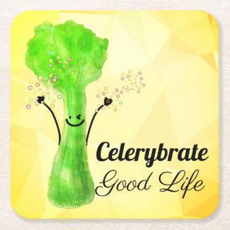 Porta-copo De Papel Quadrado Chalaça positiva do aipo - boa vida de Celerybrate