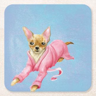 Porta-copo De Papel Quadrado Chihuahua em uma porta copos da bebida do cão do