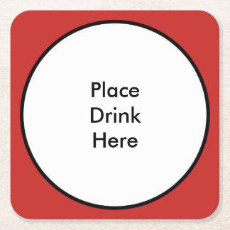Porta-copo De Papel Quadrado Coloque a porta copos quadrada da bebida aqui -