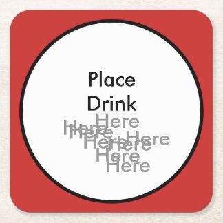 Porta-copo De Papel Quadrado Coloque a porta copos quadrada da bebida aqui aqui