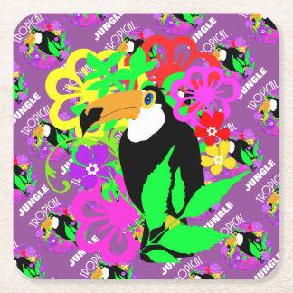 Porta-copo De Papel Quadrado Colorido animal tropical bonito do pássaro exótico