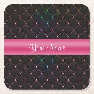 Porta-copo De Papel Quadrado Colorido preto cor-de-rosa acolchoado chique