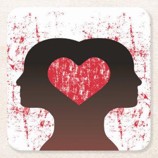 Porta-copo De Papel Quadrado Conectado com o amor