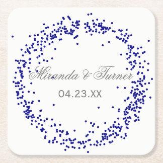 Porta-copo De Papel Quadrado Confetes azuis - porta copos feita sob encomenda