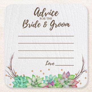 Porta-copo De Papel Quadrado Conselho floral rústico do Succulent para a noiva
