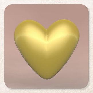 Porta-copo De Papel Quadrado Coração dourado - 3D rendem