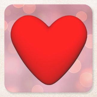 Porta-copo De Papel Quadrado Coração vermelho - 3D rendem