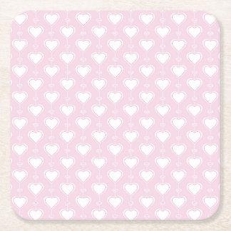 Porta-copo De Papel Quadrado Corações Pastel dos namorados