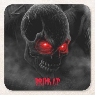 Porta-copo De Papel Quadrado Crânio humano assustador da porta copos da bebida