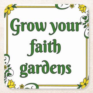 Porta-copo De Papel Quadrado Cresça sua porta copos dos jardins da fé