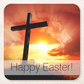 Porta-copo De Papel Quadrado Cruz religiosa da páscoa no por do sol