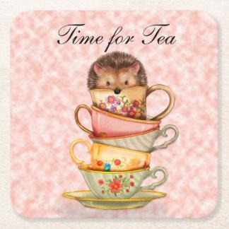 Porta-copo De Papel Quadrado CuteTime para o ouriço do chá em Teacups coloridos