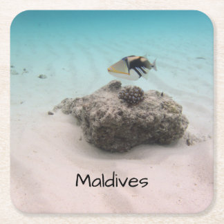 Porta-copo De Papel Quadrado Da lagoa branca da areia de Maldives lembrança
