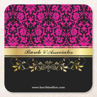 Porta-copo De Papel Quadrado Damasco cor-de-rosa