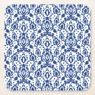 Porta-copo De Papel Quadrado Damasco marroquino azul e branco elegante do