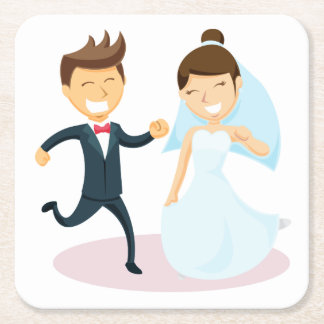 Porta-copo De Papel Quadrado Dança da noiva & do noivo dos desenhos animados