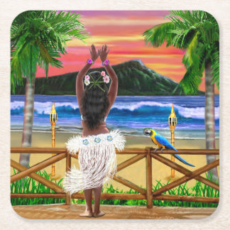 Porta-copo De Papel Quadrado Dançarino havaiano de Hula do por do sol