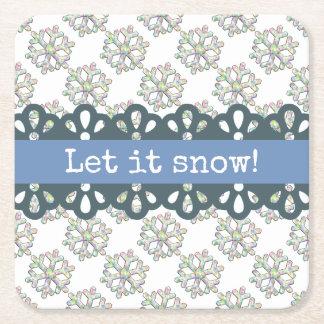 Porta-copo De Papel Quadrado Deixais lhe para nevar feriado do teste padrão do