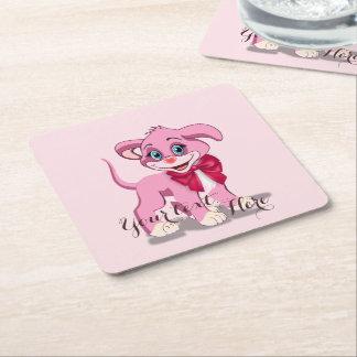 Porta-copo De Papel Quadrado Desenhos animados do filhote de cachorro do rosa