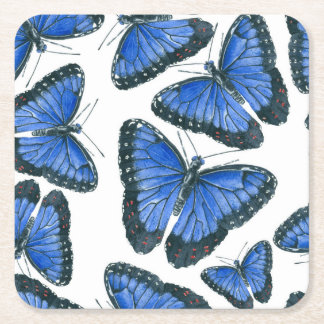 Porta-copo De Papel Quadrado Design azul do teste padrão de borboleta do morpho