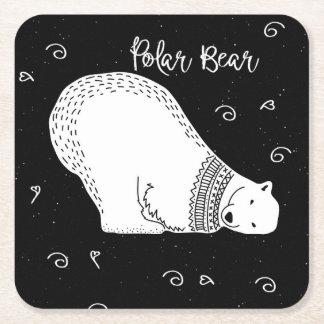 Porta-copo De Papel Quadrado Design bonito do urso polar em preto e branco