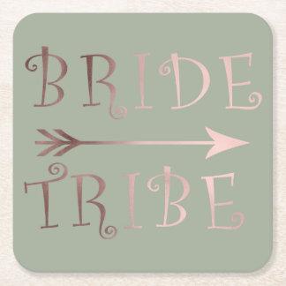 Porta-copo De Papel Quadrado design cor-de-rosa do tribo da noiva da folha de
