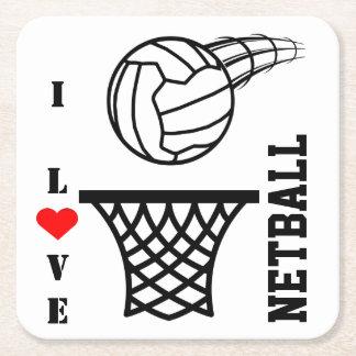 Porta-copo De Papel Quadrado Design da bola e da rede eu amo o Netball