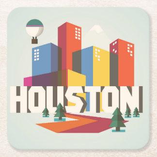 Porta-copo De Papel Quadrado Design de Houston, arquitectura da cidade de Texas