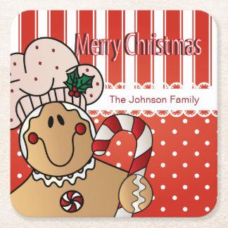 Porta-copo De Papel Quadrado Design do pão-de-espécie do Feliz Natal