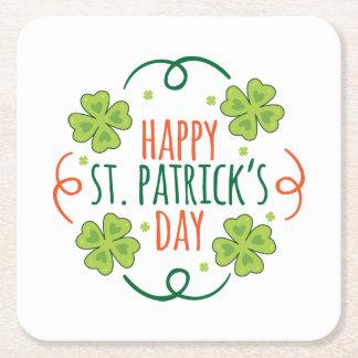 Porta-copo De Papel Quadrado Dia feliz verde e alaranjado das pancadinhas do