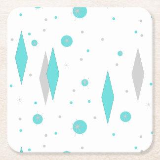 Porta-copo De Papel Quadrado Diamante retro de turquesa & porta copos de papel