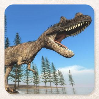 Porta-copo De Papel Quadrado Dinossauro do Ceratosaurus na linha costeira - 3D