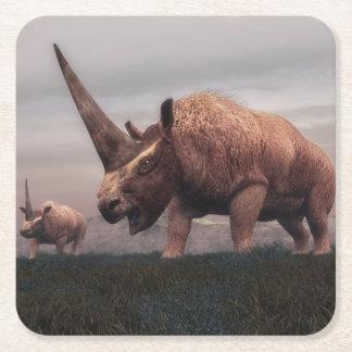 Porta-copo De Papel Quadrado Dinossauros do mamífero de Elasmotherium - 3D