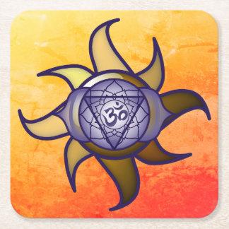 """Porta-copo De Papel Quadrado Do """"porta copos de Lotus da introspecção da ioga"""