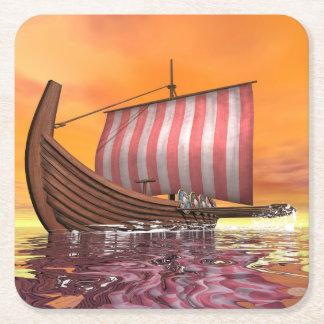 Porta-copo De Papel Quadrado Drakkar ou navio de viquingue - 3D rendem