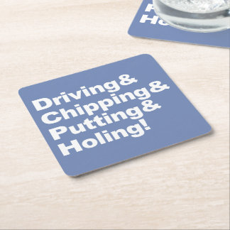 Porta-copo De Papel Quadrado Driving&Chipping&Putting&Holing (branco)